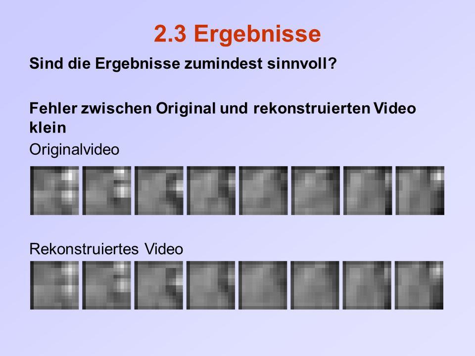 2.3 Ergebnisse Fehler zwischen Original und rekonstruierten Video klein Sind die Ergebnisse zumindest sinnvoll? Originalvideo Rekonstruiertes Video