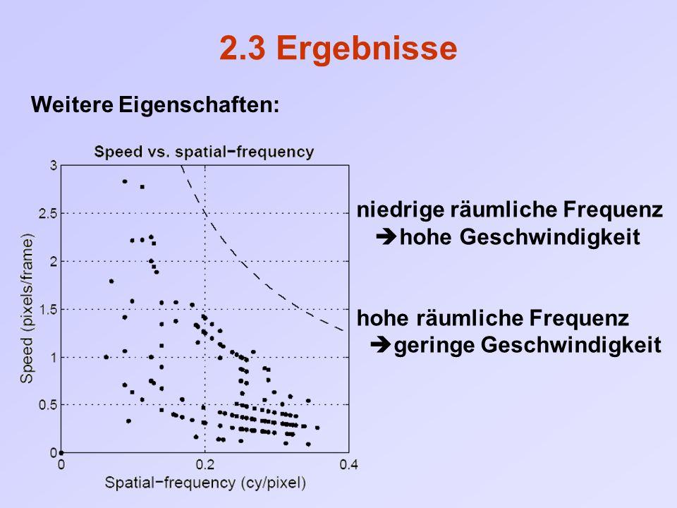 2.3 Ergebnisse niedrige räumliche Frequenz  hohe Geschwindigkeit hohe räumliche Frequenz  geringe Geschwindigkeit Weitere Eigenschaften:
