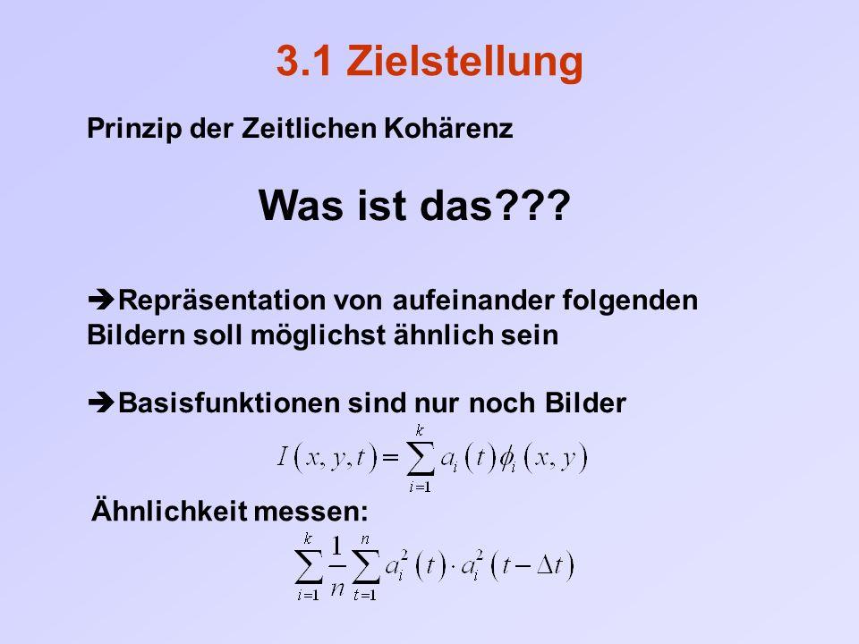 3.1 Zielstellung Prinzip der Zeitlichen Kohärenz Was ist das???  Repräsentation von aufeinander folgenden Bildern soll möglichst ähnlich sein  Basis
