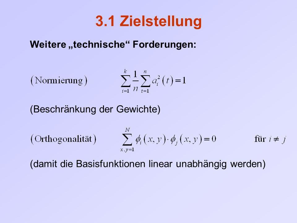 """3.1 Zielstellung Weitere """"technische Forderungen: (Beschränkung der Gewichte) (damit die Basisfunktionen linear unabhängig werden)"""