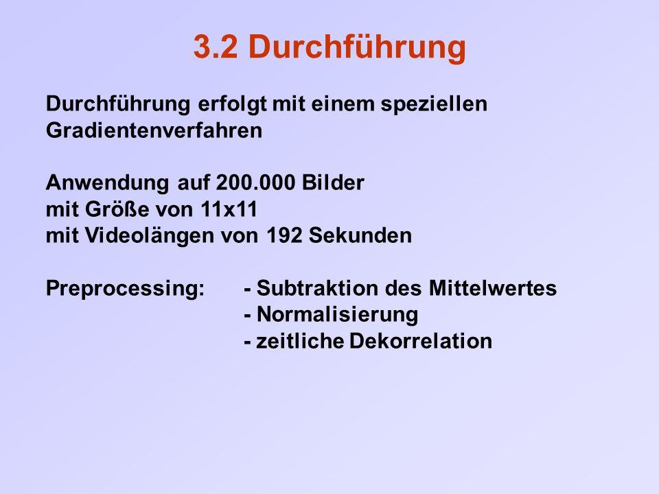 3.2 Durchführung Durchführung erfolgt mit einem speziellen Gradientenverfahren Anwendung auf 200.000 Bilder mit Größe von 11x11 mit Videolängen von 192 Sekunden Preprocessing: - Subtraktion des Mittelwertes - Normalisierung - zeitliche Dekorrelation