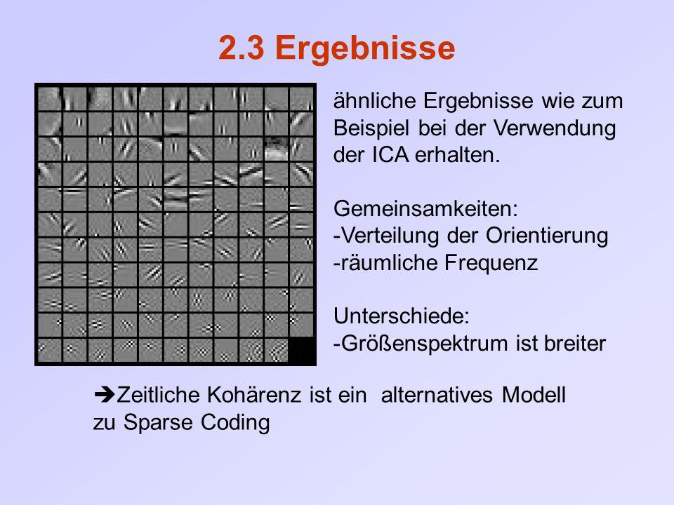 2.3 Ergebnisse ähnliche Ergebnisse wie zum Beispiel bei der Verwendung der ICA erhalten. Gemeinsamkeiten: -Verteilung der Orientierung -räumliche Freq