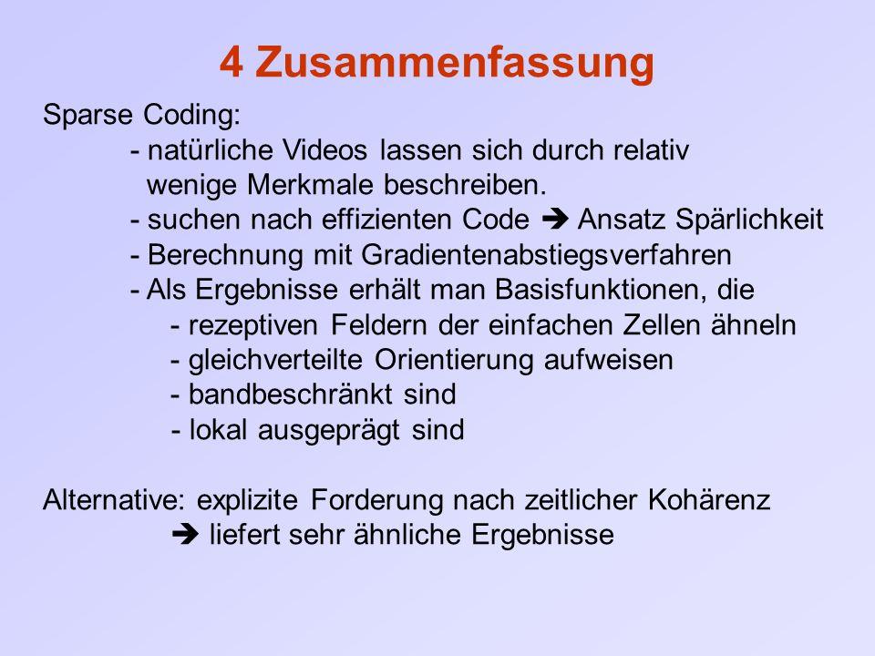 4 Zusammenfassung Sparse Coding: - natürliche Videos lassen sich durch relativ wenige Merkmale beschreiben. - suchen nach effizienten Code  Ansatz Sp