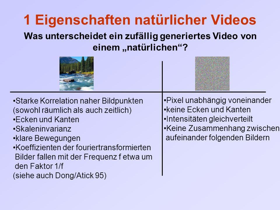 """1 Eigenschaften natürlicher Videos Was unterscheidet ein zufällig generiertes Video von einem """"natürlichen""""? Starke Korrelation naher Bildpunkten (sow"""