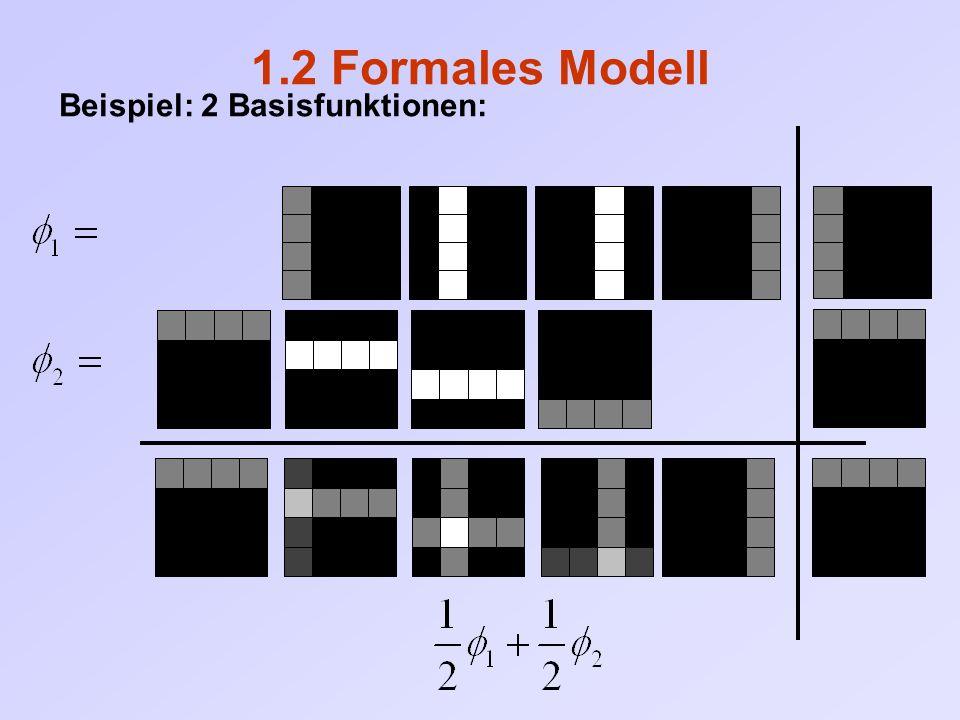 1.2 Formales Modell Bemerkungen: N Basisfunktionen linear unabhängig gewählt:  eindeutig bestimmt  jedes Video lässt sich verlustfrei darstellen (N = Anzahl der Videodimension) Linear abhängige Basisfunktionen möglich  Code sogar mehr als vollständig (over – complete)  mehrere Darstellungen für ein Bild möglich  Konsequenzen?