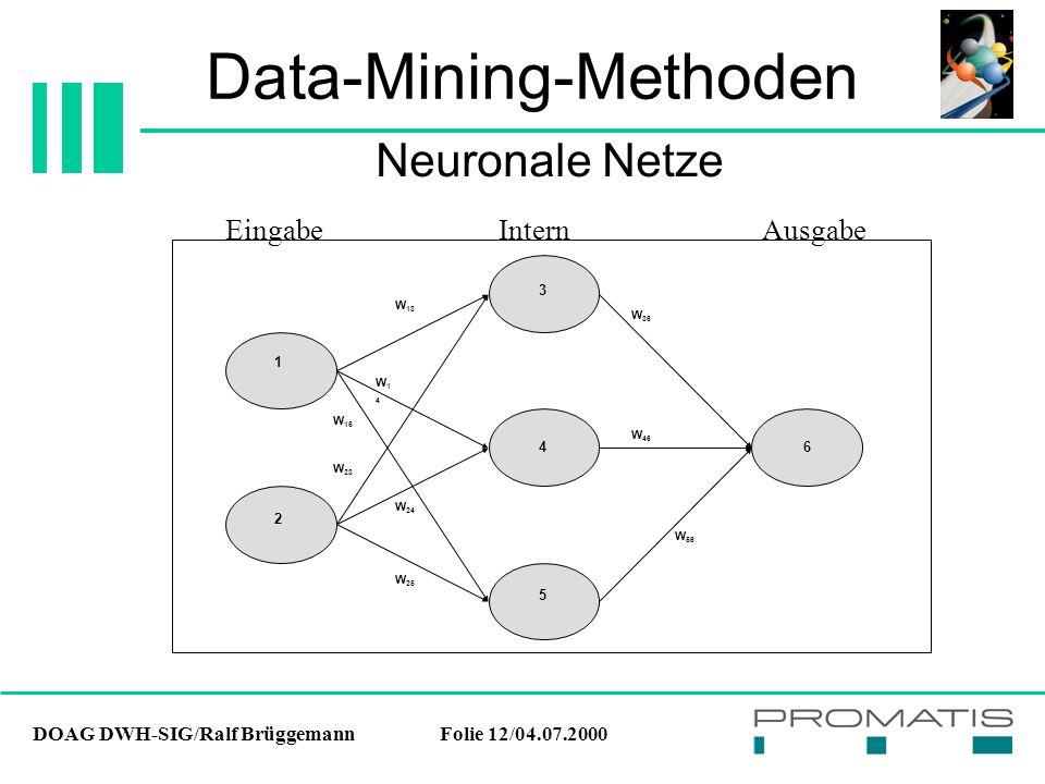 DOAG DWH-SIG/Ralf BrüggemannFolie 12/04.07.2000 Data-Mining-Methoden Neuronale Netze 5 6 1 4 3 2 W 13 W14W14 W 15 W 23 W 24 W 25 W 36 W 46 W 56 Eingab