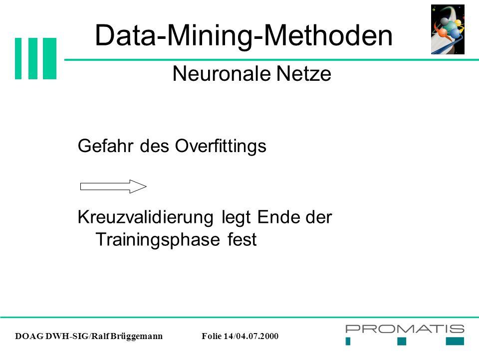 DOAG DWH-SIG/Ralf BrüggemannFolie 14/04.07.2000 Data-Mining-Methoden Gefahr des Overfittings Neuronale Netze Kreuzvalidierung legt Ende der Trainingsp