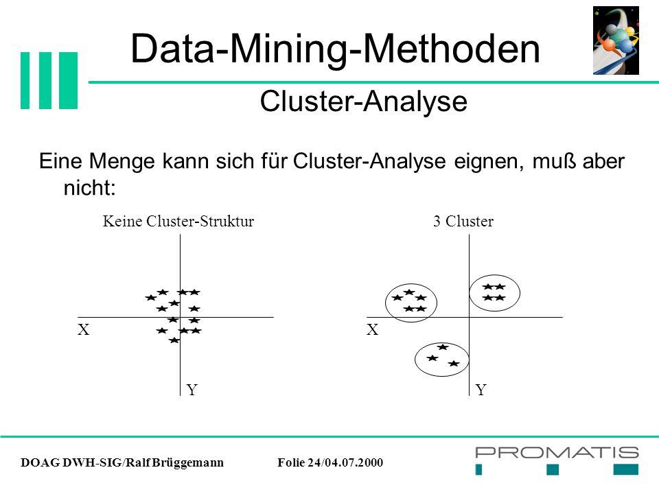 DOAG DWH-SIG/Ralf BrüggemannFolie 24/04.07.2000 Data-Mining-Methoden Eine Menge kann sich für Cluster-Analyse eignen, muß aber nicht: Cluster-Analyse X Y X Y Keine Cluster-Struktur 3 Cluster
