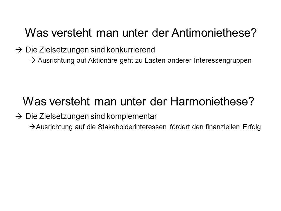 Was versteht man unter der Harmoniethese.