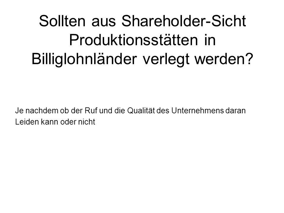 Sollten aus Shareholder-Sicht Produktionsstätten in Billiglohnländer verlegt werden.