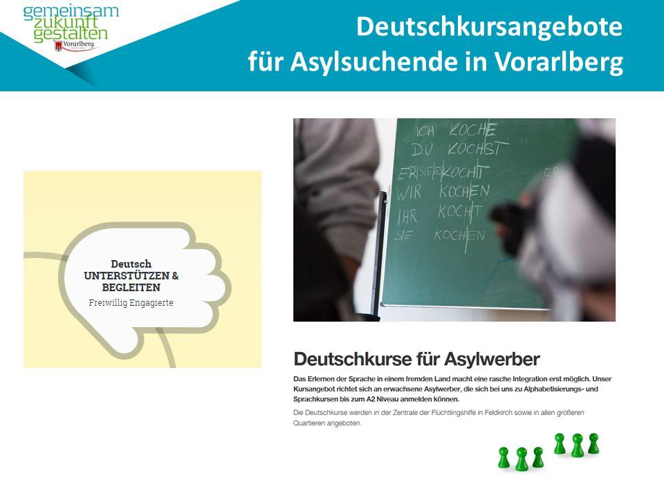 Deutschkursangebote für Asylsuchende in Vorarlberg