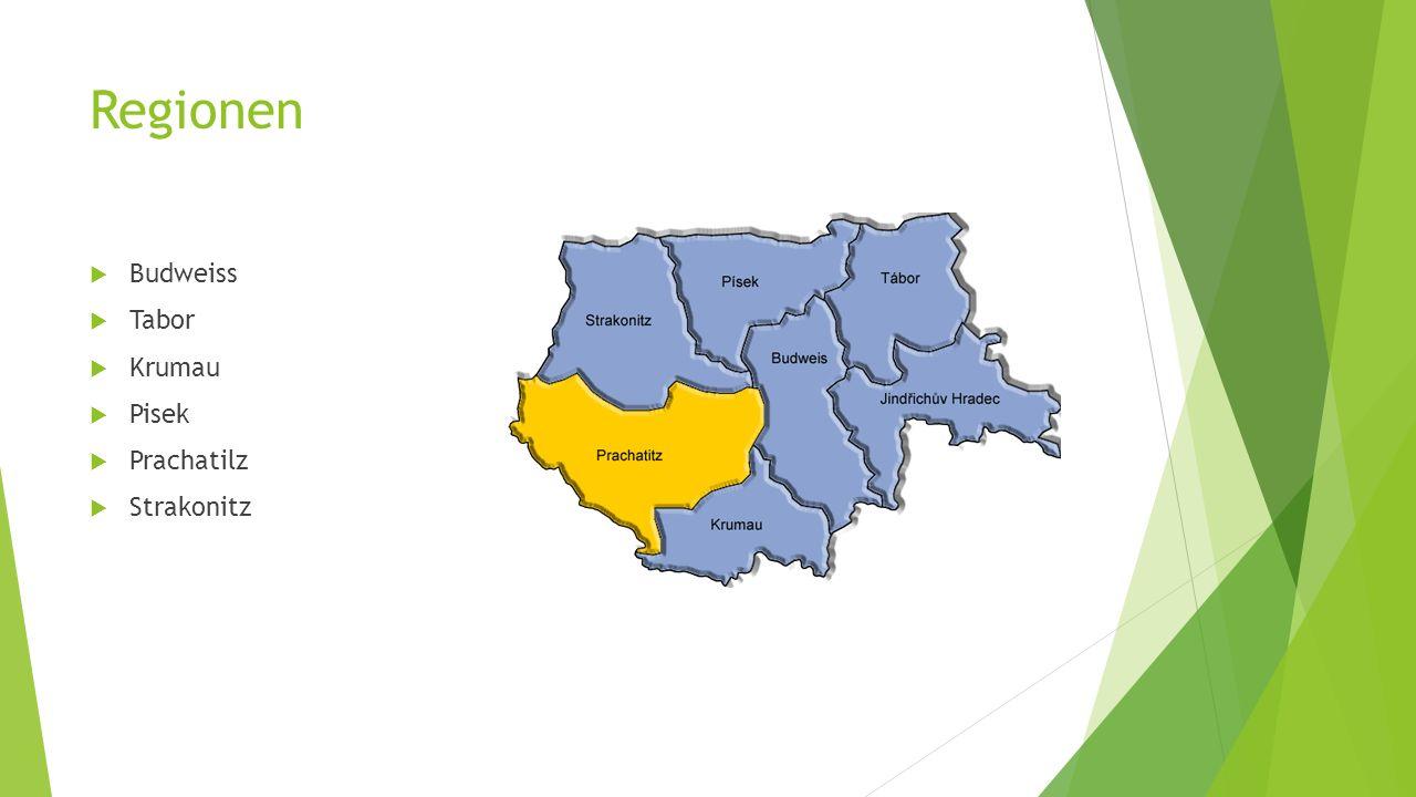 Regionen  Budweiss  Tabor  Krumau  Pisek  Prachatilz  Strakonitz