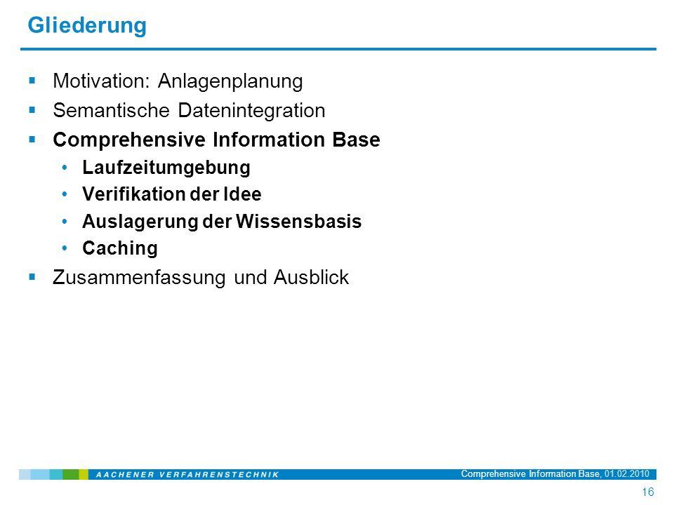 Name der Präsentation, 20.03.2008 16 16 Comprehensive Information Base, 01.02.2010 Gliederung  Motivation: Anlagenplanung  Semantische Datenintegration  Comprehensive Information Base Laufzeitumgebung Verifikation der Idee Auslagerung der Wissensbasis Caching  Zusammenfassung und Ausblick