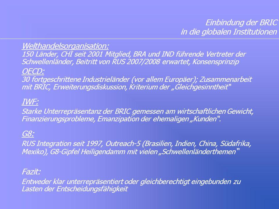 """Einbindung der BRIC in die globalen Institutionen Welthandelsorganisation: 150 Länder, CHI seit 2001 Mitglied, BRA und IND führende Vertreter der Schwellenländer, Beitritt von RUS 2007/2008 erwartet, Konsensprinzip OECD: 30 fortgeschrittene Industrieländer (vor allem Europäer); Zusammenarbeit mit BRIC, Erweiterungsdiskussion, Kriterium der """"Gleichgesinntheit IWF: Starke Unterrepräsentanz der BRIC gemessen am wirtschaftlichen Gewicht, Finanzierungsprobleme, Emanzipation der ehemaligen """"Kunden ."""