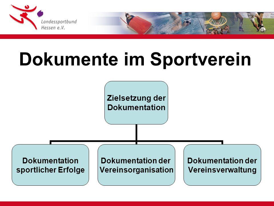 Dokumente im Sportverein Zielsetzung der Dokumentation sportlicher Erfolge Dokumentation der Vereinsorganisation Dokumentation der Vereinsverwaltung