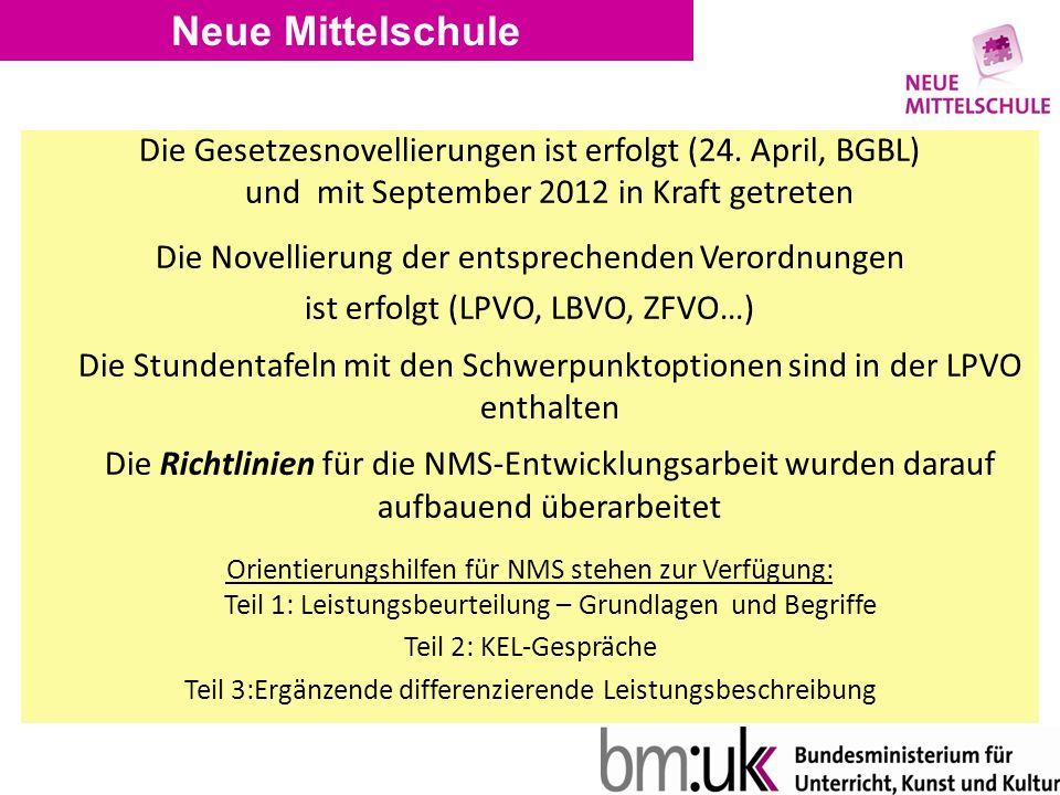 Neue Mittelschule Die Gesetzesnovellierungen ist erfolgt (24.