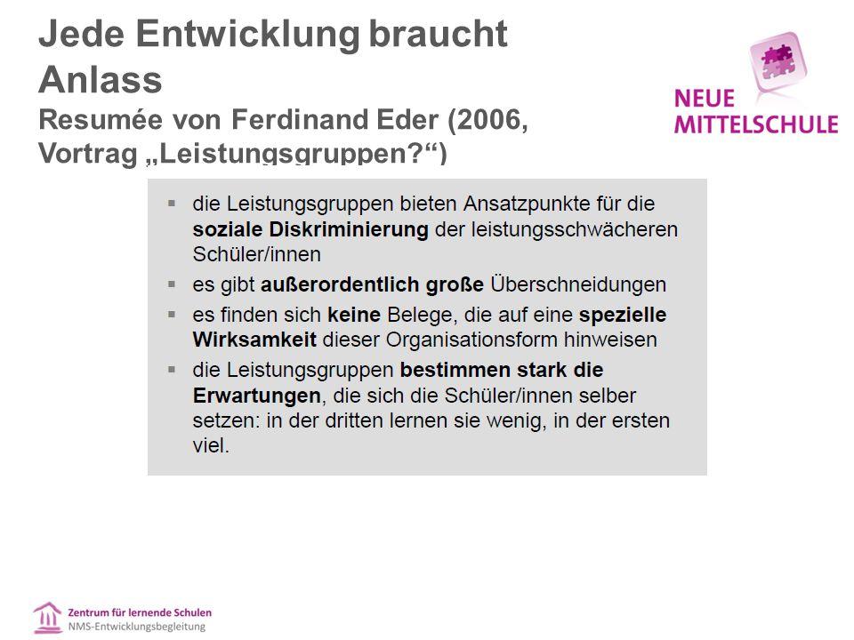"""Jede Entwicklung braucht Anlass Resumée von Ferdinand Eder (2006, Vortrag """"Leistungsgruppen )"""