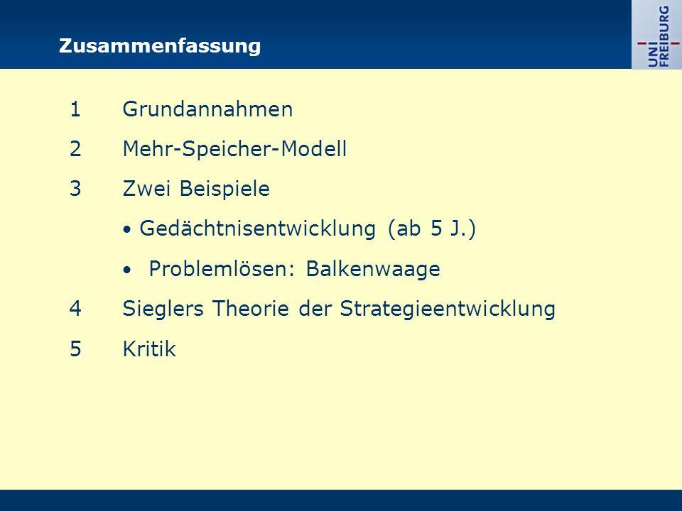 Zusammenfassung 1Grundannahmen 2Mehr-Speicher-Modell 3Zwei Beispiele  Gedächtnisentwicklung (ab 5 J.)  Problemlösen: Balkenwaage 4Sieglers Theorie d