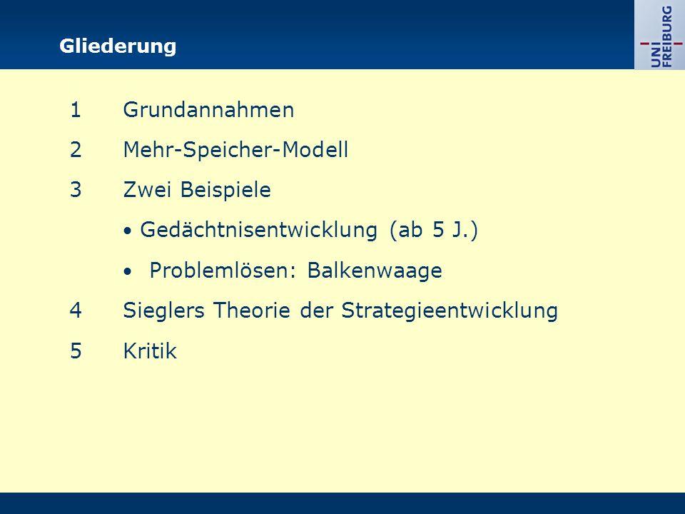 Gliederung 1Grundannahmen 2Mehr-Speicher-Modell 3Zwei Beispiele  Gedächtnisentwicklung (ab 5 J.)  Problemlösen: Balkenwaage 4Sieglers Theorie der St