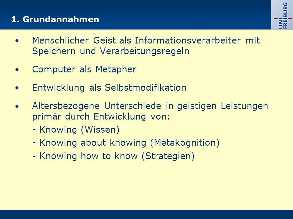 1. Grundannahmen Menschlicher Geist als Informationsverarbeiter mit Speichern und Verarbeitungsregeln Computer als Metapher Entwicklung als Selbstm