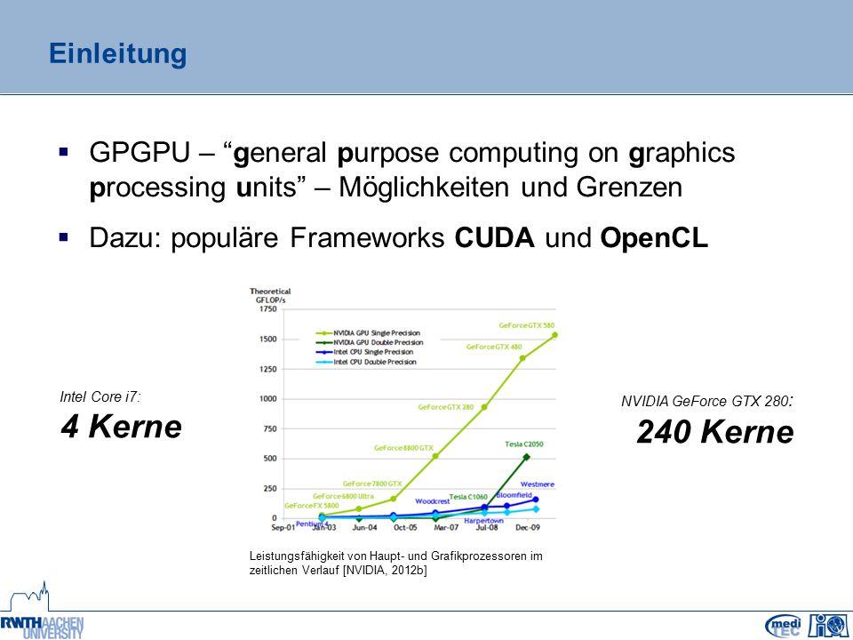 """Initialisierung, Fehlerbehandlung und Debugging  OpenCL muss explizit initialisiert werden  OpenCL-Kontext Fehlerbehandlung  CUDA: Rückgabewert jedes API-Aufrufs  OpenCL: nicht einheitlich Debugging  CUDA: """"Nsight – integriert sich in bestehende IDE  OpenCL: implementierungsspezifisch oAMD: """"gDEBugger – integriert sich ebenfalls in IDE ogibt keinen für NVIDIA-Hardware  OpenCL-Kernels auf NVIDIA-Hardware debuggen nicht möglich"""