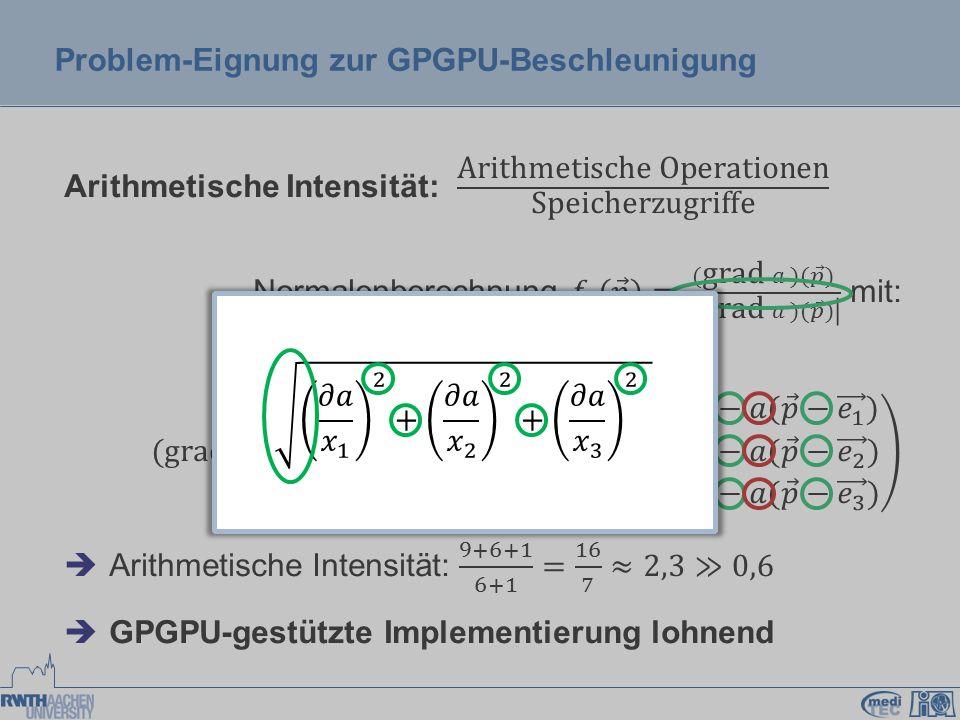 Fazit  Normalenberechnung gutes Beispiel  CUDA und OpenCL konzeptionell sehr ähnlich  Entscheidungsfindung: Weitere Kriterien: o Templates zur Kernel- Programmierung:  CUDA  OpenCL o Unabhängigkeit von bestimmter Plattform zur Laufzeit:   CUDA OpenCL OpenCL oder CUDA – Entscheidungsfindung bezüglich des Entwicklungssystems