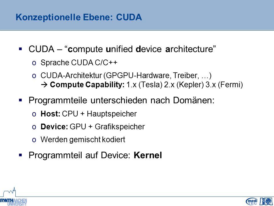 """Konzeptionelle Ebene: OpenCL  OpenCL – open computing language  Plattform-Modell  SPMD – single program multiple data o1 Datenstrom  1 Befehlszähler  unterschiedliche Instruktionen je Datenstrom / Taktzyklus  Hierarchische Aufteilung wie """"Tesla -Architektur  Kernel: Einstiegspunkt in Device-Programmteil OpenCL Plattform-Modell als UML-Klassendiagramm Device - globaler Speicher - konst."""