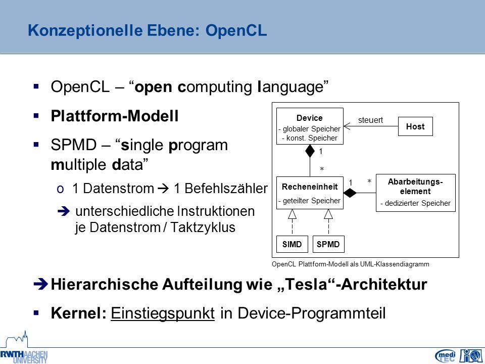 Vergleich der Frameworks OpenCL und CUDA zur GPGPU- gestützten Datenverarbeitung Leonid Kostrykin (kostrykin@hia.rwth-aachen.de) Lehrstuhl für Medizintechnik Helmholtz-Institut für Biomedizinische Technik der RWTH Aachen http://www.meditec.hia.rwth-aachen.de Vielen Dank !