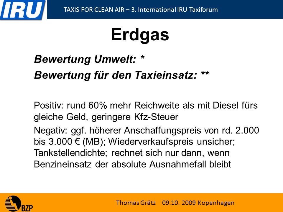 TAXIS FOR CLEAN AIR – 3.International IRU-Taxiforum Thomas Grätz 09.10.