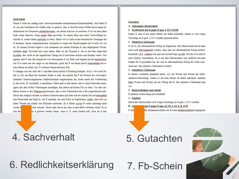 4. Sachverhalt 5. Gutachten 6. Redlichkeitserklärung 7. Fb-Schein
