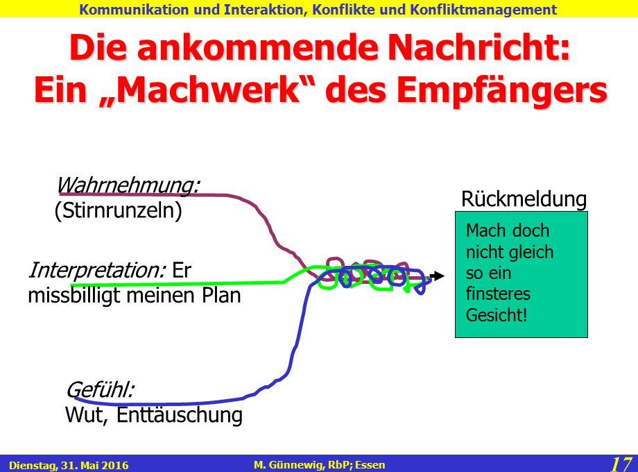 """17 M. Günnewig, RbP; Essen Kommunikation und Interaktion, Konflikte und Konfliktmanagement Dienstag, 31. Mai 2016 Die ankommende Nachricht: Ein """"Machw"""