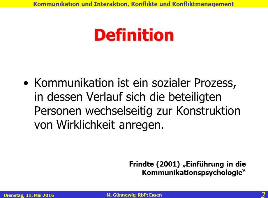 2 M. Günnewig, RbP; Essen Kommunikation und Interaktion, Konflikte und Konfliktmanagement Dienstag, 31. Mai 2016 Definition Kommunikation ist ein sozi
