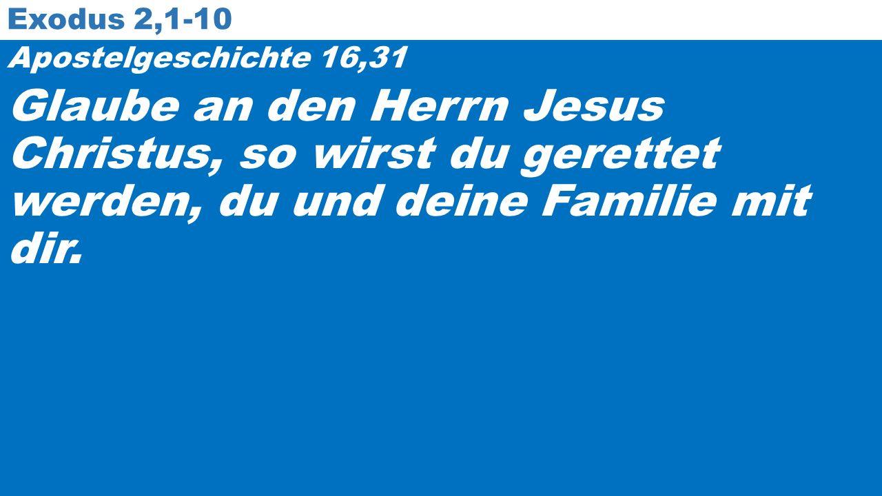 Exodus 2,1-10 Apostelgeschichte 16,31 Glaube an den Herrn Jesus Christus, so wirst du gerettet werden, du und deine Familie mit dir.