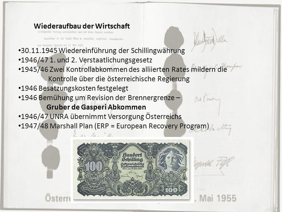 Wiederaufbau der Wirtschaft 30.11.1945 Wiedereinführung der Schillingwährung 1946/47 1. und 2. Verstaatlichungsgesetz 1945/46 Zwei Kontrollabkommen de