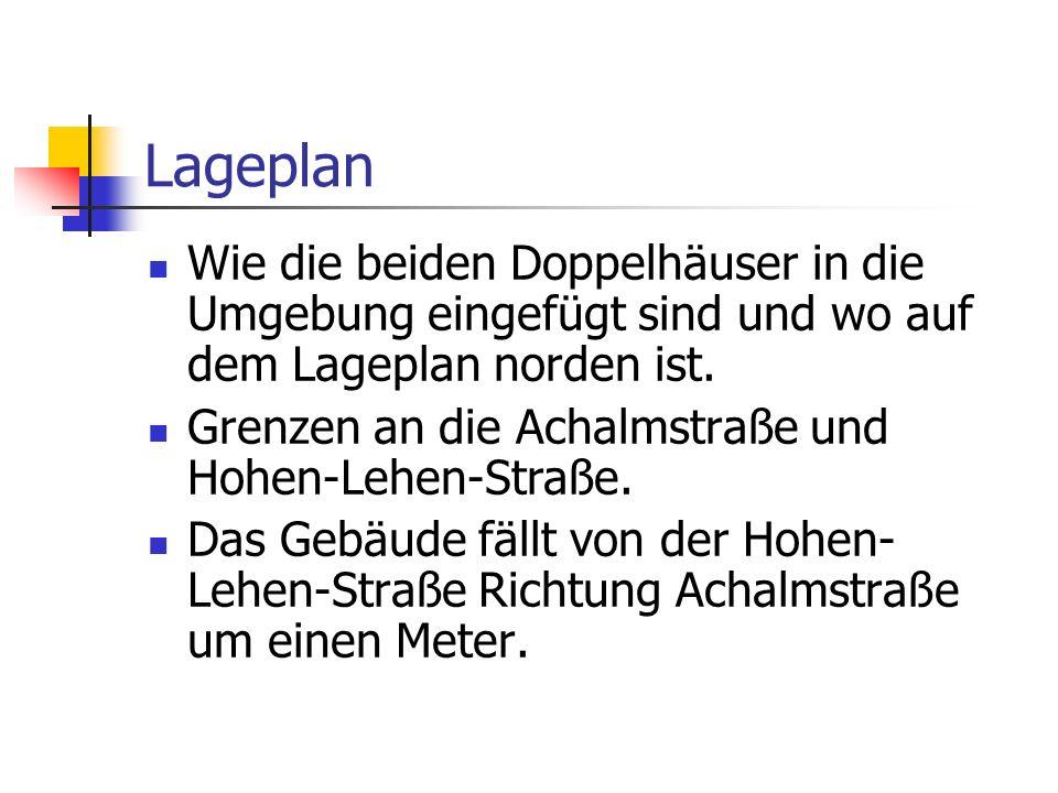 Lageplan Wie die beiden Doppelhäuser in die Umgebung eingefügt sind und wo auf dem Lageplan norden ist. Grenzen an die Achalmstraße und Hohen-Lehen-St