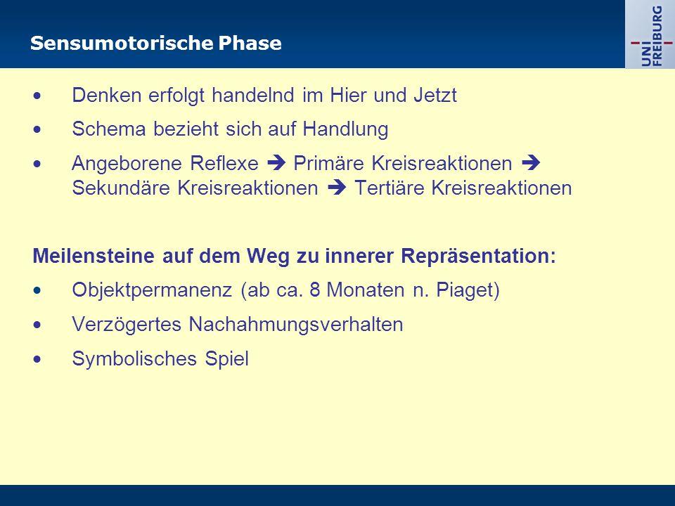 Sensumotorische Phase  Denken erfolgt handelnd im Hier und Jetzt  Schema bezieht sich auf Handlung  Angeborene Reflexe  Primäre Kreisreaktionen  Sekundäre Kreisreaktionen  Tertiäre Kreisreaktionen Meilensteine auf dem Weg zu innerer Repräsentation:  Objektpermanenz (ab ca.