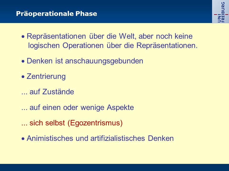 Präoperationale Phase  Repräsentationen über die Welt, aber noch keine logischen Operationen über die Repräsentationen.
