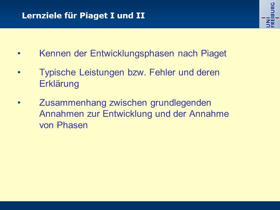 Lernziele für Piaget I und II Kennen der Entwicklungsphasen nach Piaget Typische Leistungen bzw.
