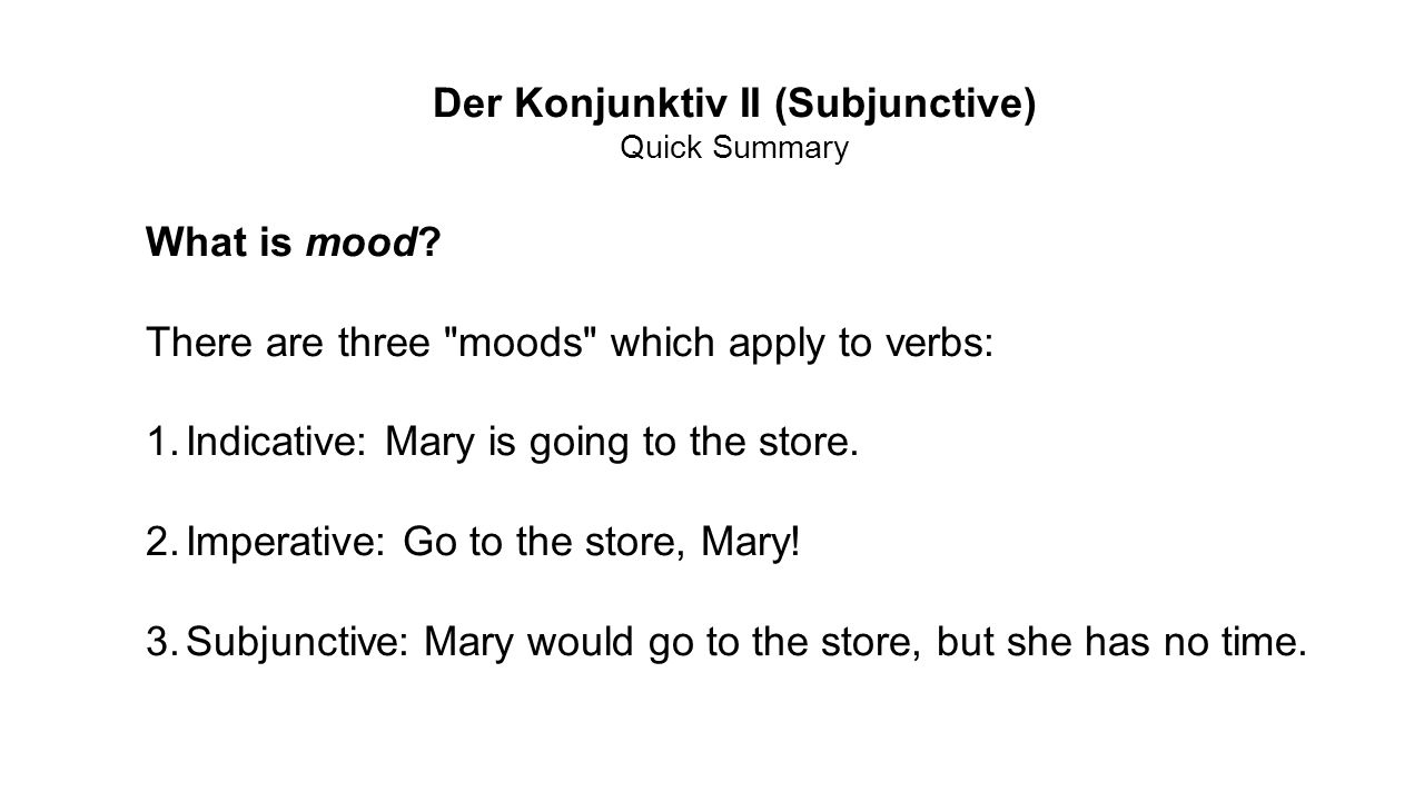 CONTRARY TO FACT Actually, all subjunctive statements are contrary to fact.