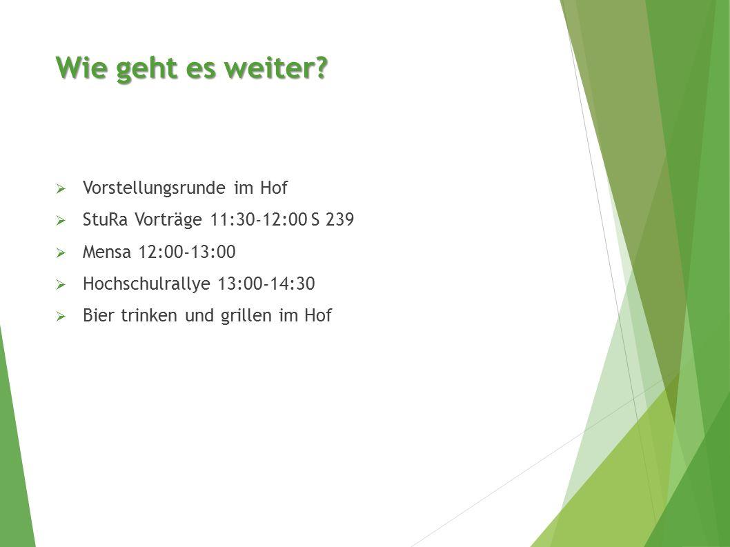  Vorstellungsrunde im Hof  StuRa Vorträge 11:30-12:00 S 239  Mensa 12:00-13:00  Hochschulrallye 13:00-14:30  Bier trinken und grillen im Hof Wie geht es weiter?