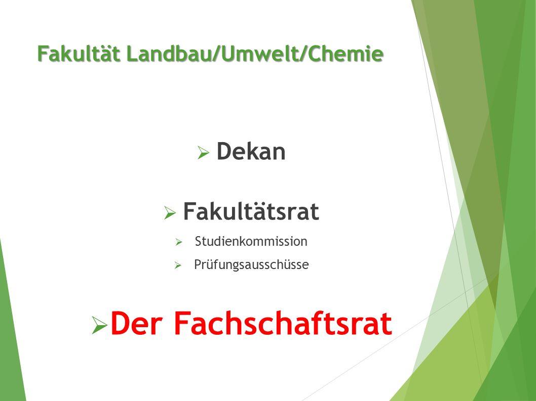 Fakultät Landbau/Umwelt/Chemie  Dekan  Fakultätsrat  Studienkommission  Prüfungsausschüsse  Der Fachschaftsrat