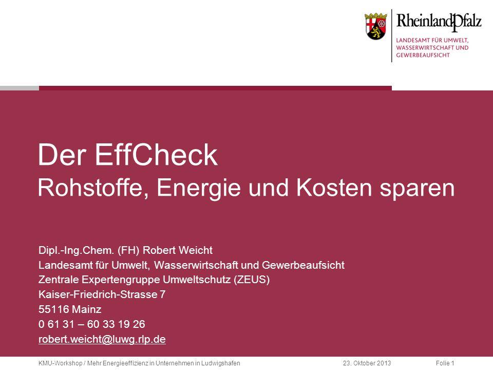 Folie 1KMU-Workshop / Mehr Energieeffizienz in Unternehmen in Ludwigshafen23. Oktober 2013 Der EffCheck Rohstoffe, Energie und Kosten sparen Dipl.-Ing