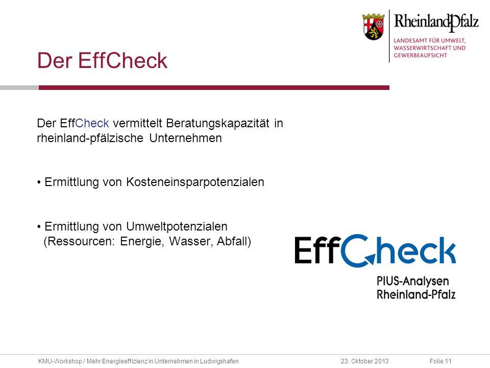 Folie 1123. Oktober 2013KMU-Workshop / Mehr Energieeffizienz in Unternehmen in Ludwigshafen Der EffCheck Der EffCheck vermittelt Beratungskapazität in