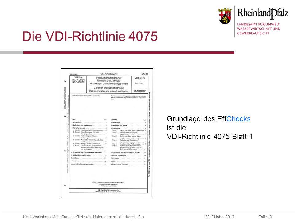 Folie 1323. Oktober 2013KMU-Workshop / Mehr Energieeffizienz in Unternehmen in Ludwigshafen Die VDI-Richtlinie 4075 Grundlage des EffChecks ist die VD
