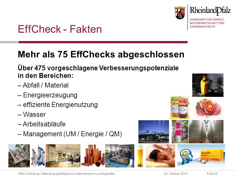 Folie 1523. Oktober 2013KMU-Workshop / Mehr Energieeffizienz in Unternehmen in Ludwigshafen EffCheck - Fakten Mehr als 75 EffChecks abgeschlossen Über
