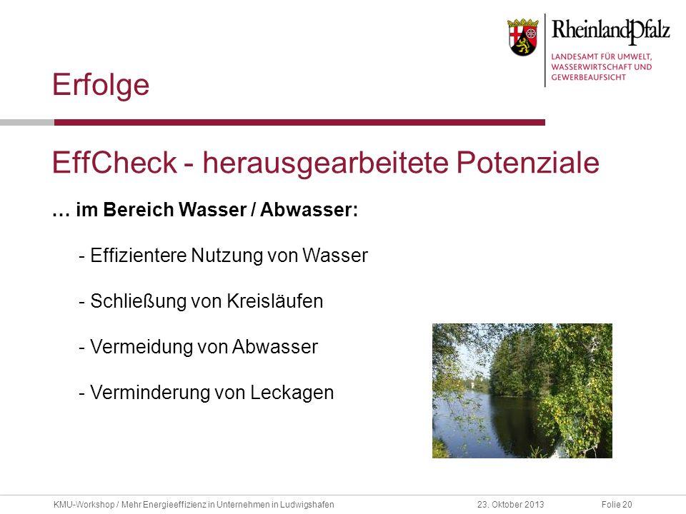 Folie 2023. Oktober 2013KMU-Workshop / Mehr Energieeffizienz in Unternehmen in Ludwigshafen EffCheck - herausgearbeitete Potenziale Erfolge … im Berei