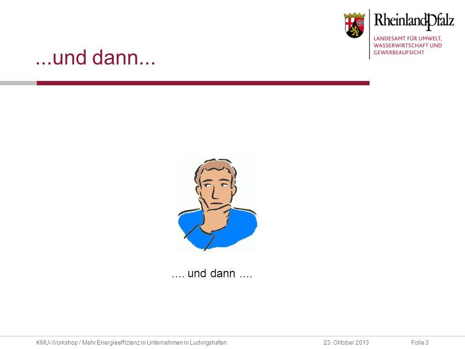 Folie 323. Oktober 2013KMU-Workshop / Mehr Energieeffizienz in Unternehmen in Ludwigshafen...und dann....... und dann....