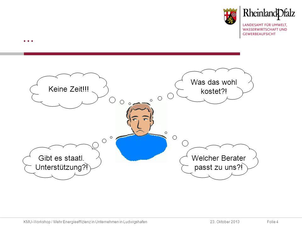 Folie 423. Oktober 2013KMU-Workshop / Mehr Energieeffizienz in Unternehmen in Ludwigshafen... Keine Zeit!!! Was das wohl kostet?! Gibt es staatl. Unte
