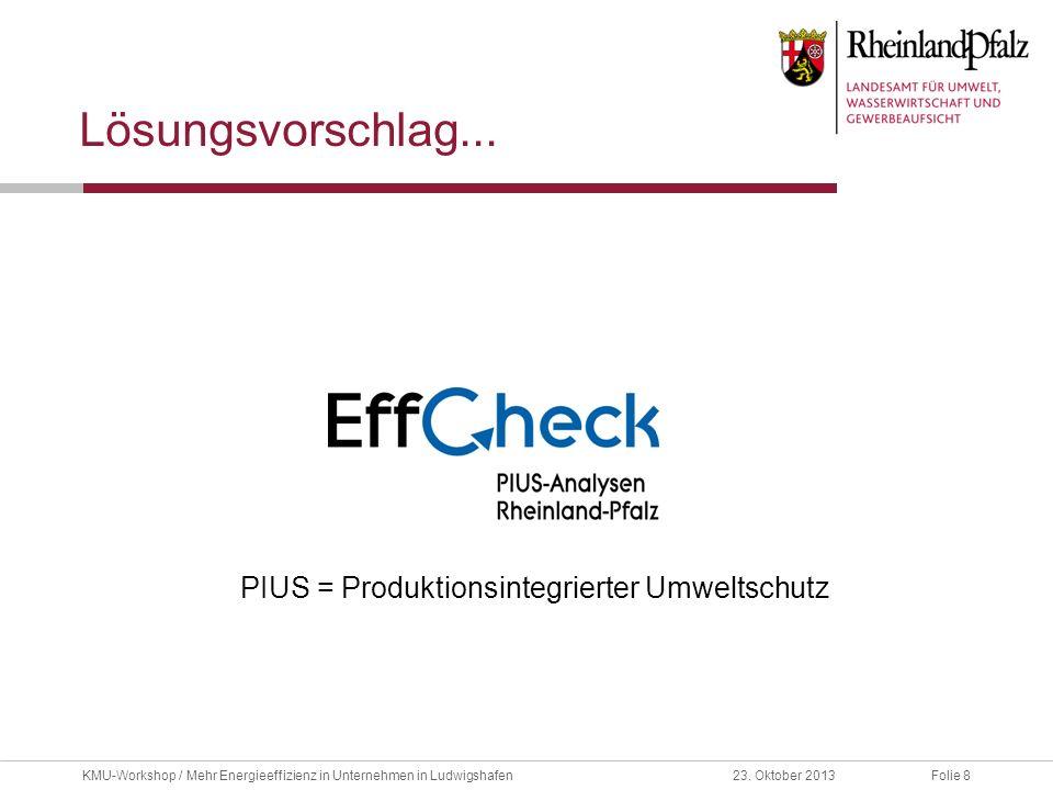 Folie 823. Oktober 2013KMU-Workshop / Mehr Energieeffizienz in Unternehmen in Ludwigshafen Lösungsvorschlag... PIUS = Produktionsintegrierter Umweltsc