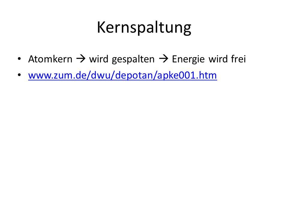 Kernspaltung Atomkern  wird gespalten  Energie wird frei www.zum.de/dwu/depotan/apke001.htm